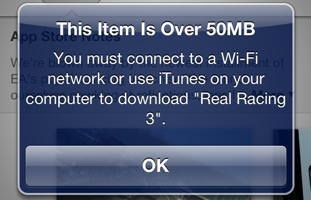 Limite download 50 MB su iPhone
