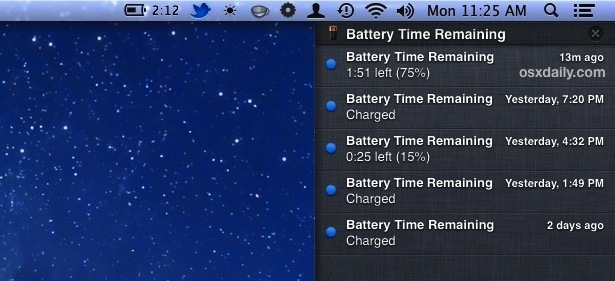 Tempo residuo batteria visualizzato come avviso per Centro notifiche in Mac OS X