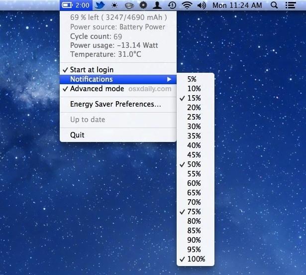 Impostare le percentuali della batteria per gli avvisi al Centro notifiche