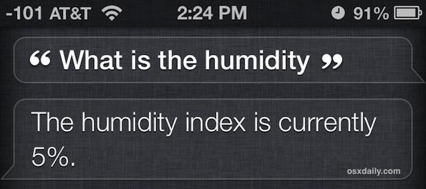 Indice di umidità da Siri