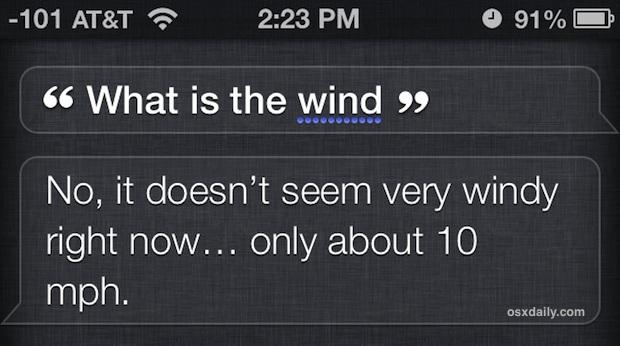 Ottieni la velocità del vento da Siri