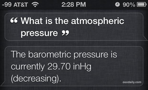 Prendi la pressione atmosferica da Siri