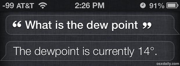 Ottieni il punto di rugiada da Siri