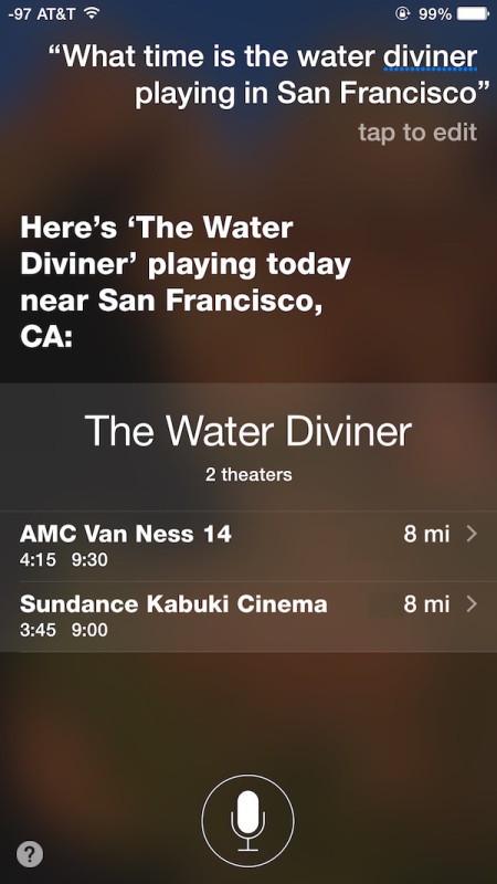Scopri a che ora sta giocando un film e dove sta giocando con Siri