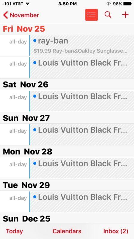 iCloud Calendario spam su iPhone