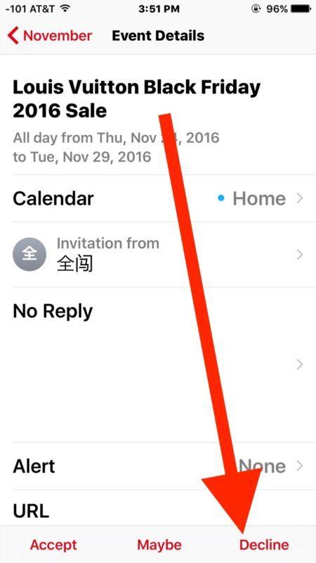 Rifiutare gli inviti spam del calendario