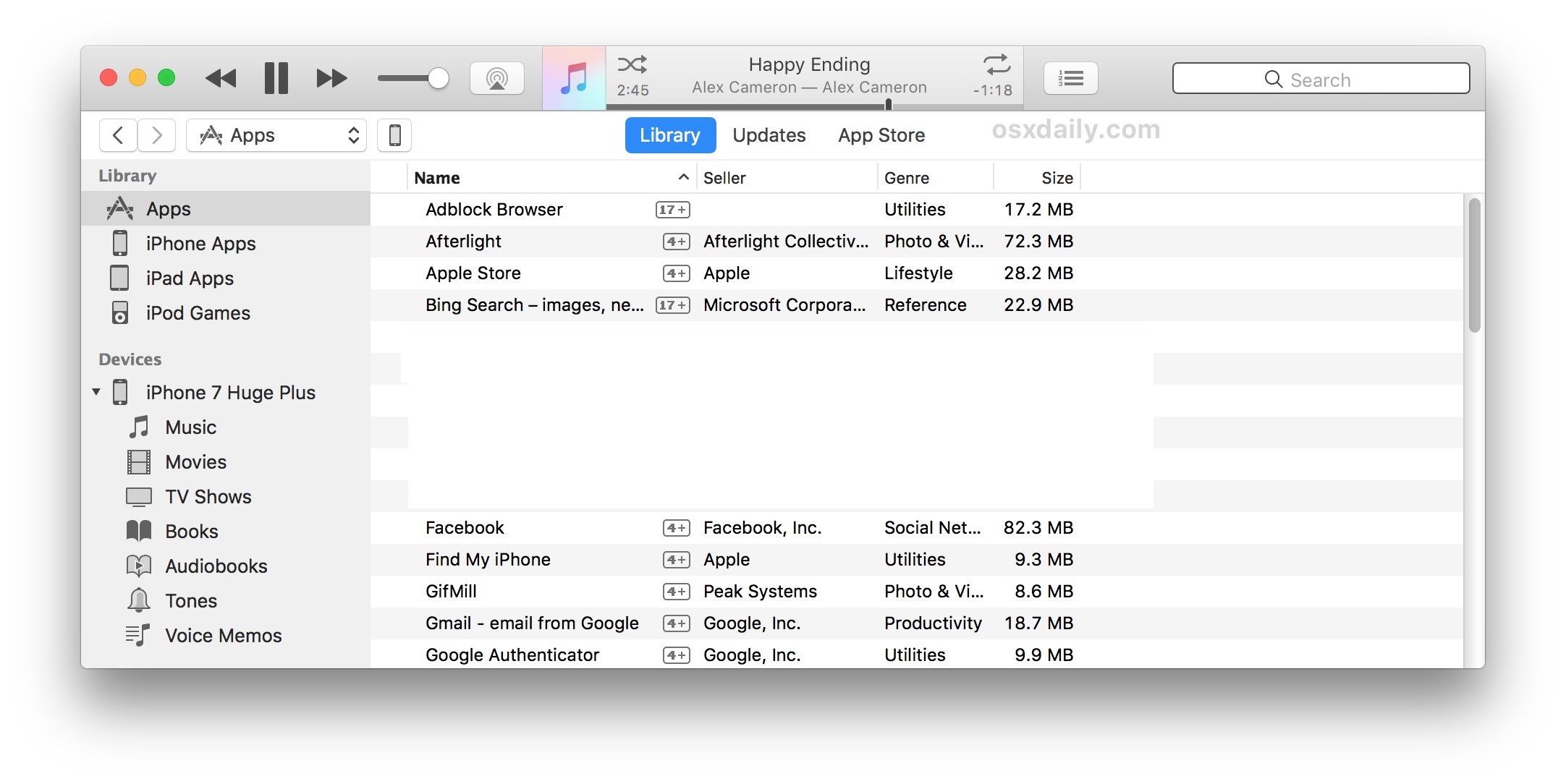 Accedi alle app e App Store su iTunes 12.6.3