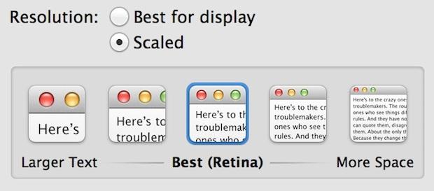 Regola lo spazio disponibile sullo schermo su un Mac retina