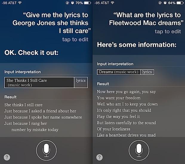 Ottieni testi di canzoni da Siri