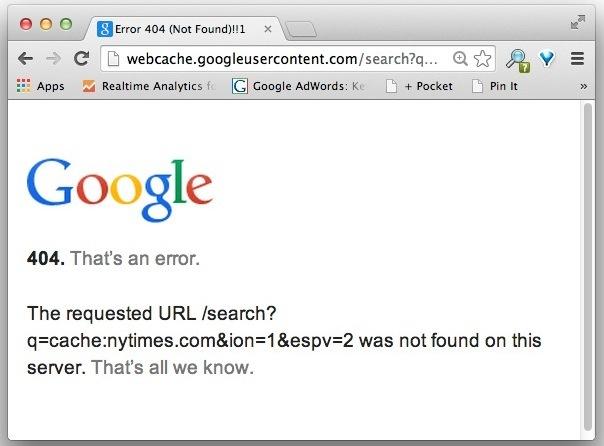 Pagina di errore di Google Cache per NYTimes