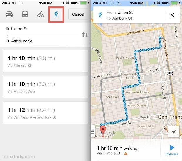 Indicazioni a piedi in Google Maps