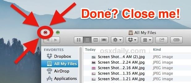 Chiudi tutti i miei file al termine in OS X