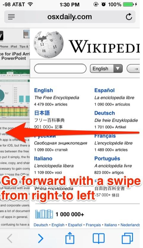 Vai avanti con un gesto da destra a sinistra in Safari per iOS
