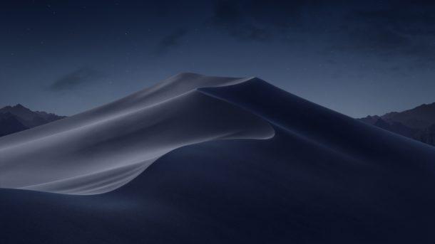 Sfondo predefinito MacOS Mojave per tema notte e buio
