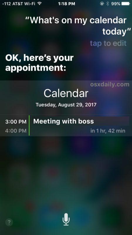 Siri cosa c'è nel mio calendario oggi