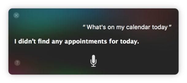 Siri non dice appuntamenti oggi su Calendar
