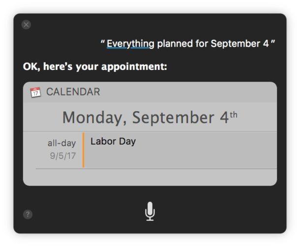 Siri mostra tutto ciò che è stato pianificato in un giorno specifico