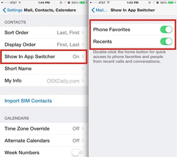 Disattiva contatti e preferiti dal commutatore di app in iOS