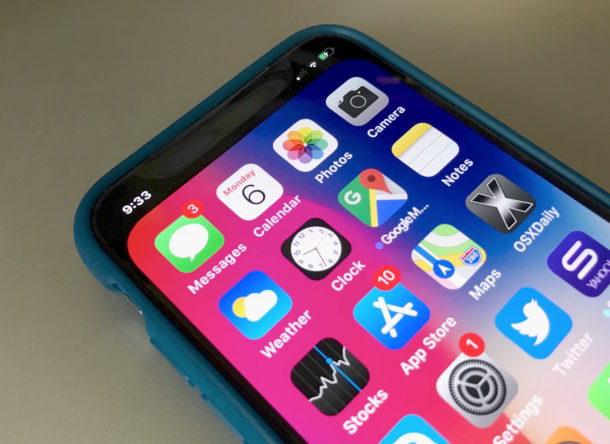 iPhone X intaglio che nasconde lo sfondo
