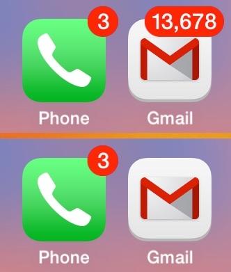 Nascondi il numero di posta non letta