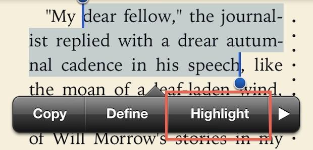 Evidenzia le parole in iBooks