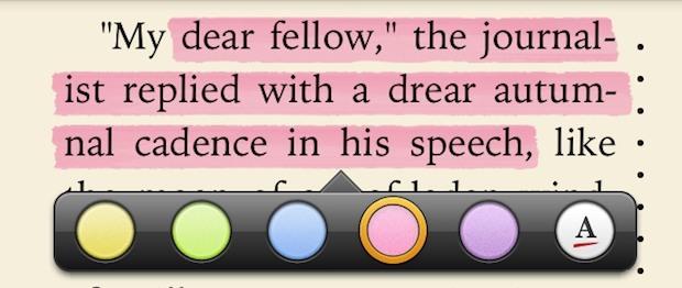 Evidenziare le parole in iBooks