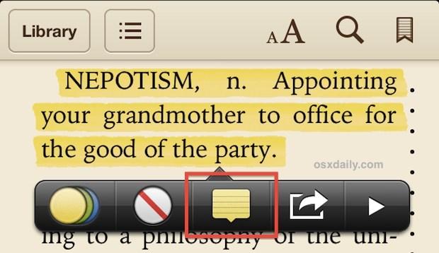 Prendere appunti in iBooks
