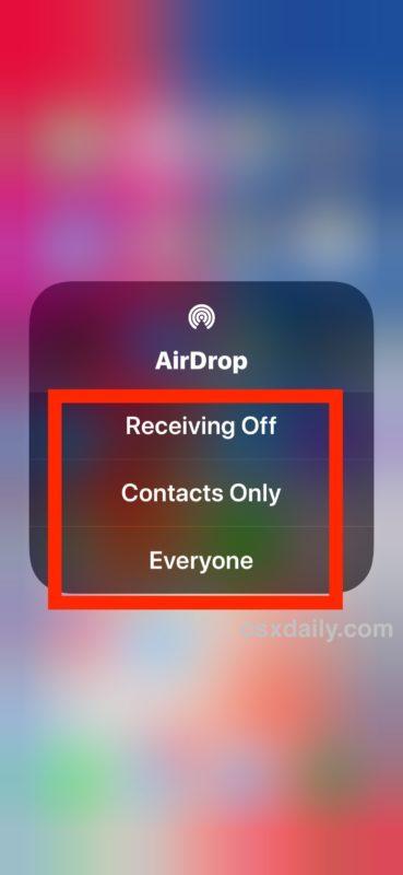 Scegli l'impostazione AirDrop nel Centro di controllo iOS 11