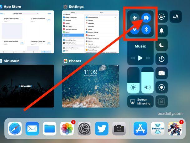 AirDrop visibile in Control Center per iPad in iOS 11