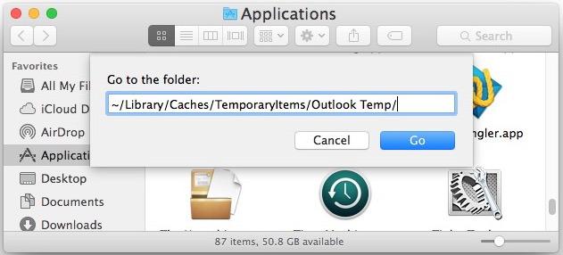 Vai alla cartella Temp di Outlook su Mac