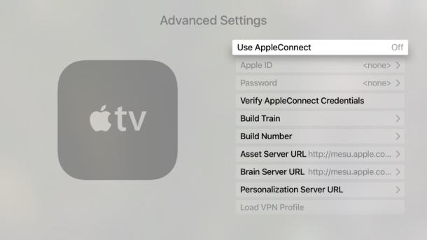 la schermata delle impostazioni avanzate di Apple TV di Apple TV con varie opzioni interne