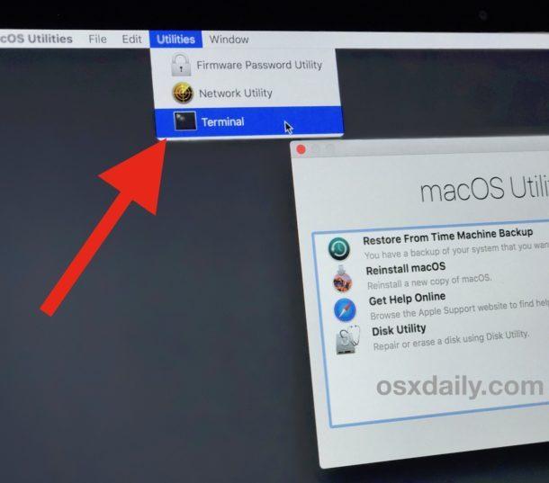 Terminale di accesso dalla modalità di ripristino su un Mac