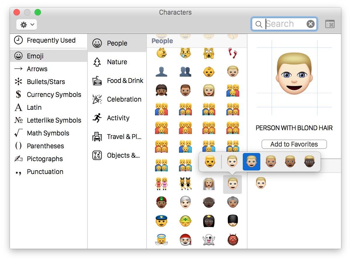 Accesso a differenti skin skin Emoji in Mac OS X
