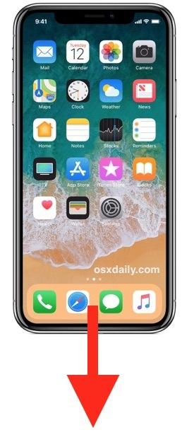 Scorri verso il basso dalla parte inferiore dello schermo fino a Raggiungibilità iPhone X