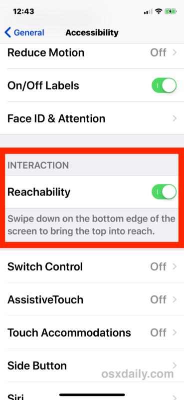 Abilita la raggiungibilità su iPhone X
