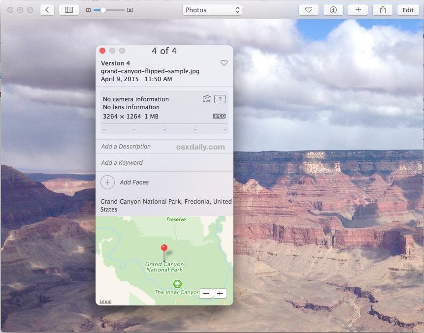 Aggiungi dati sulla posizione alle immagini in Foto per Mac
