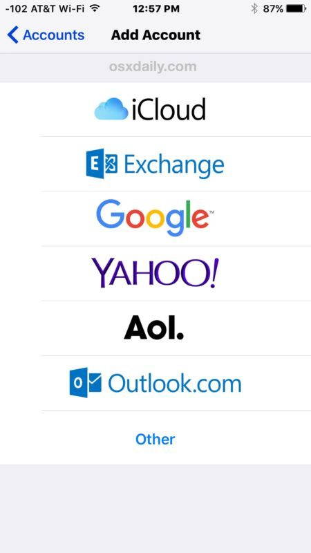 Aggiungi un nuovo account e-mail e un indirizzo e-mail a iOS