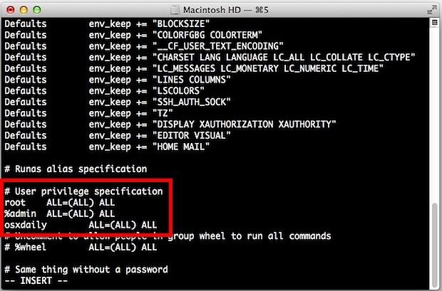 Utente aggiunto al file sudoers in OS X