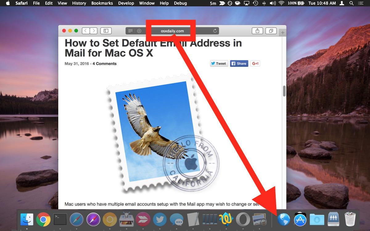 Aggiungi un collegamento al sito web sul Dock in Mac OS X
