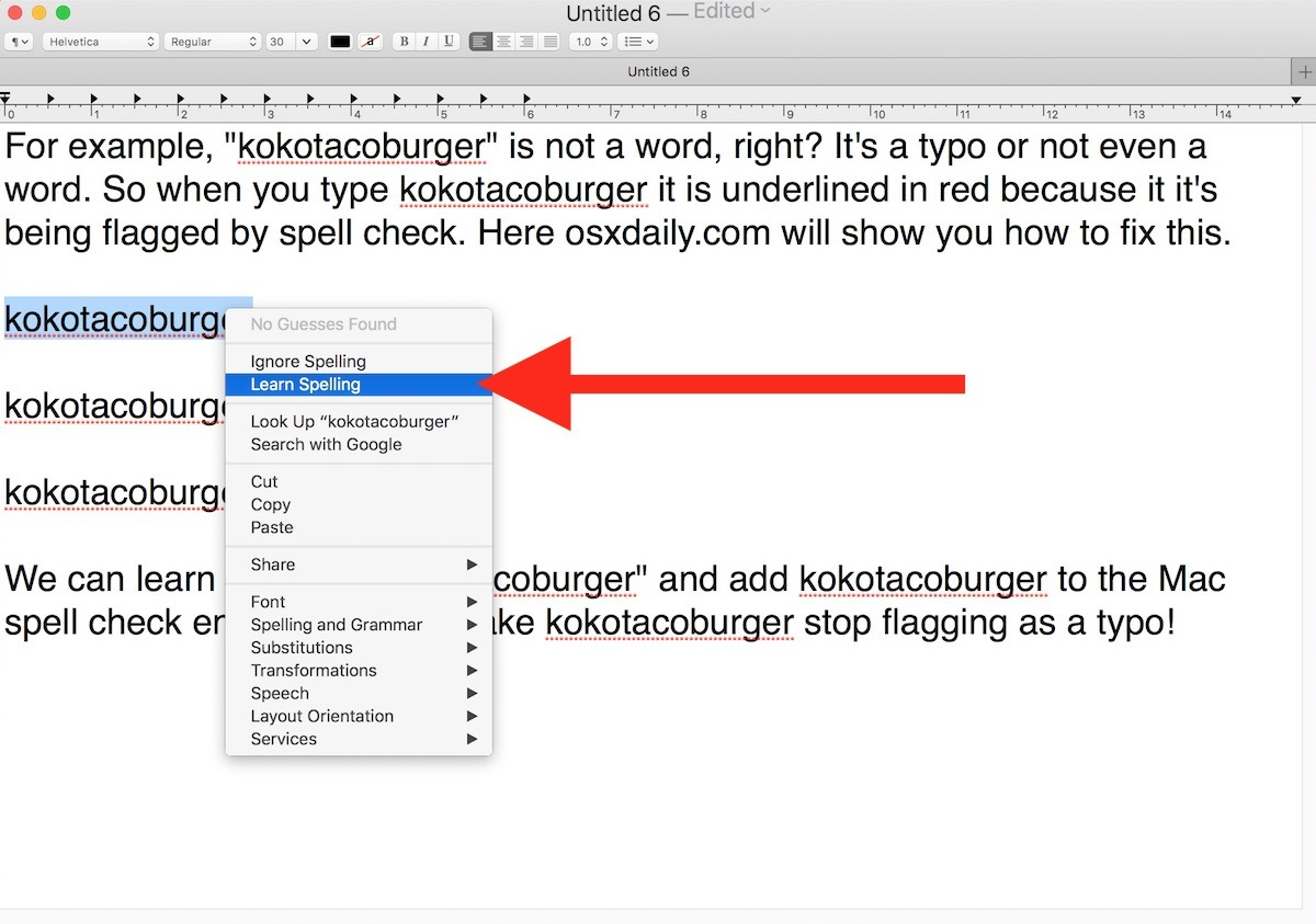 Come disimparare l'ortografia di una parola su Mac controllo ortografico