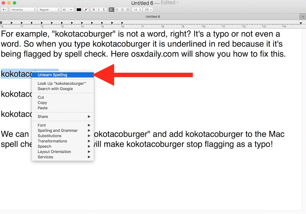 Impara nuova ortografia della parola in Spellcheck per Mac