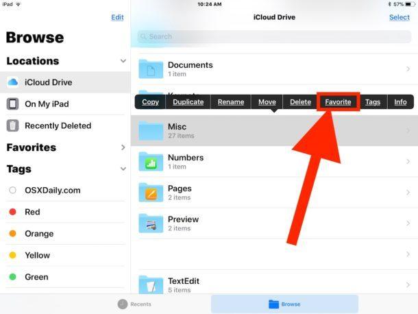 Scegli Preferito per aggiungere all'elenco dei preferiti nell'app File iOS