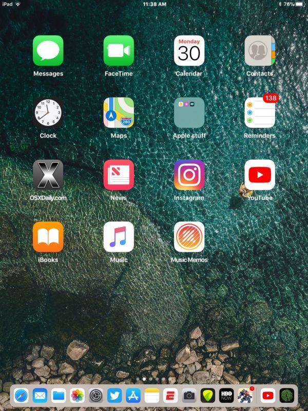 Orientamento verticale che mostra 15 app nel Dock di iPad