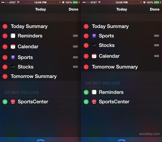 Riorganizzazione di notifiche e widget in iOS
