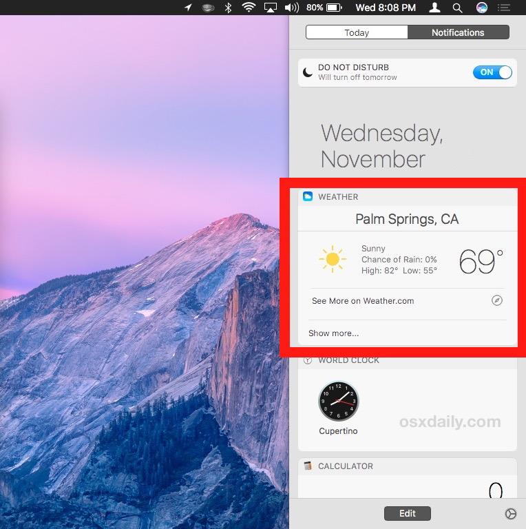 Widget Siri aggiunto al centro notifiche Mac