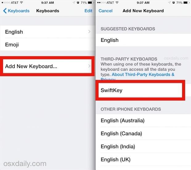 Aggiungere una nuova tastiera in iOS
