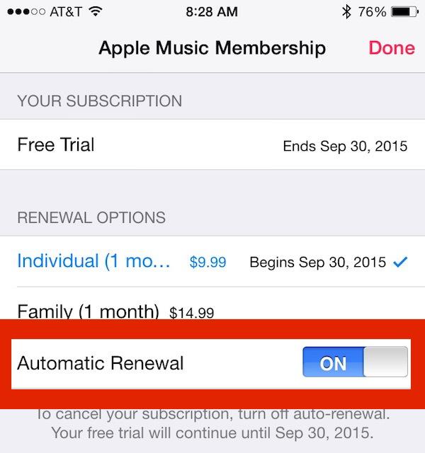 Accensione o spegnimento del rinnovo dell'abbonamento Apple Music