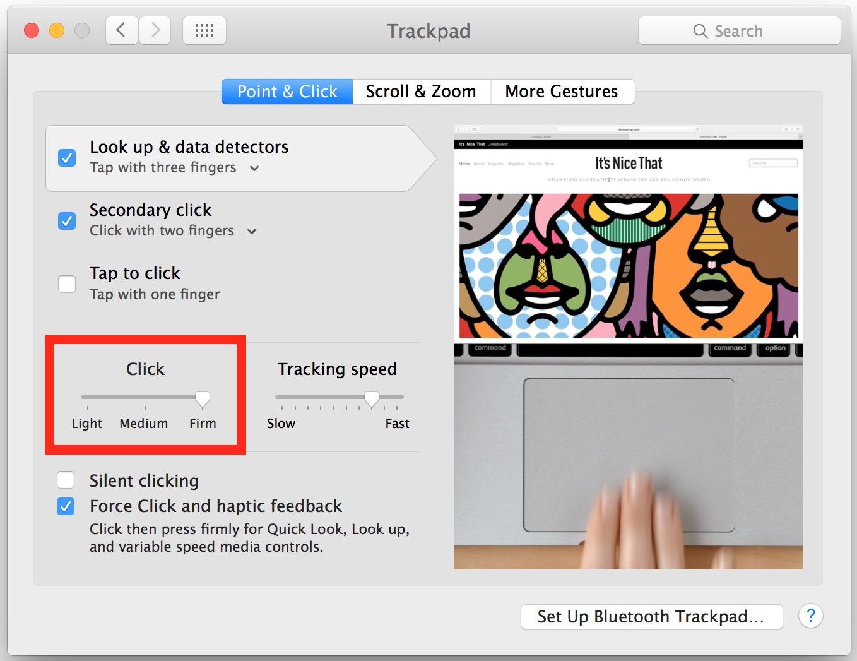 Regola la pressione del tocco del tocco della forza sul trackpad del Mac