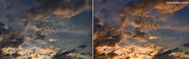 Esempio di regolazione del colore e della luce in Foto per iOS fatto su iPhone