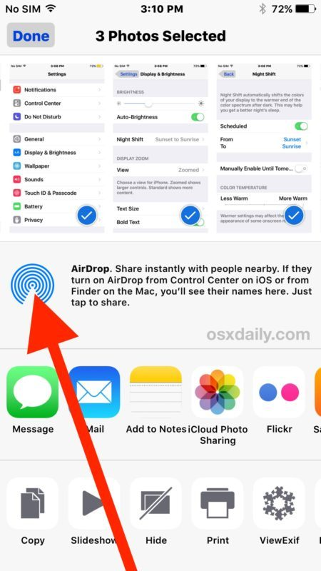 Tocca l'icona AirDrop from Sharing in iOS